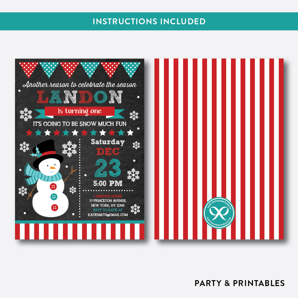 Christmas Snowman Chalkboard Kids Birthday Invitation / Editable / Instant Download (CKB.192), invitation - Party and Printables