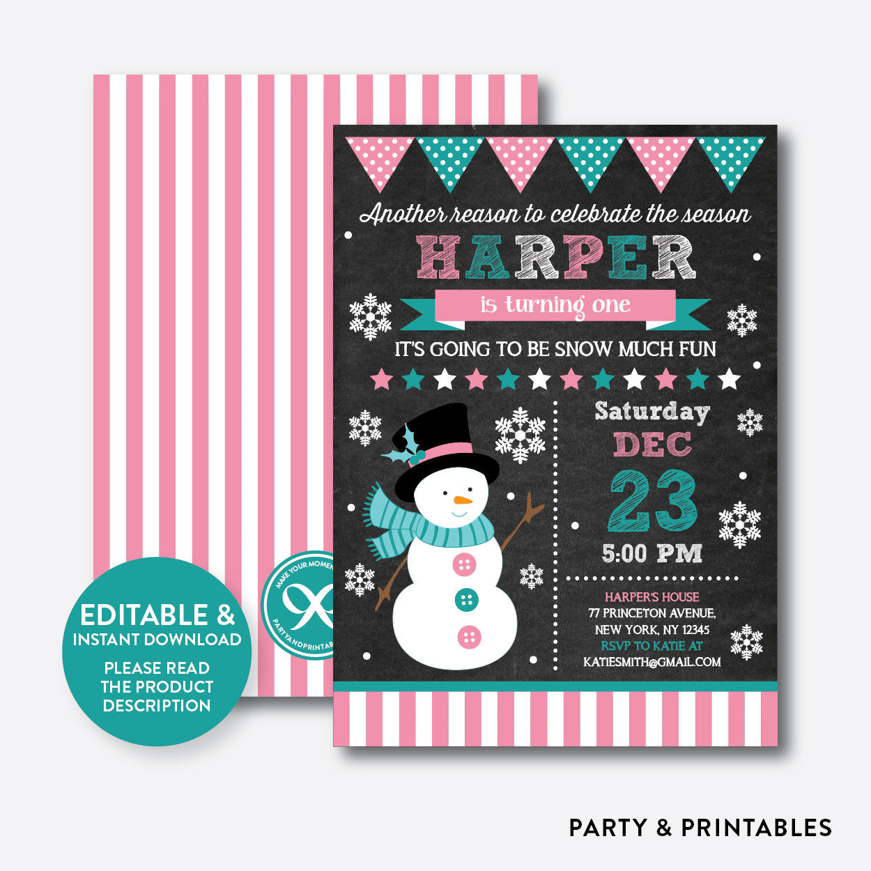 Christmas Snowman Chalkboard Kids Birthday Invitation / Editable / Instant Download (CKB.193), invitation - Party and Printables