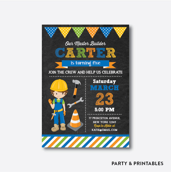 Master Builder Boy Chalkboard Kids Birthday Invitation / Personalized (CKB.197)