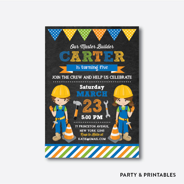 Master Builder Chalkboard Kids Birthday Invitation / Personalized (CKB.198)