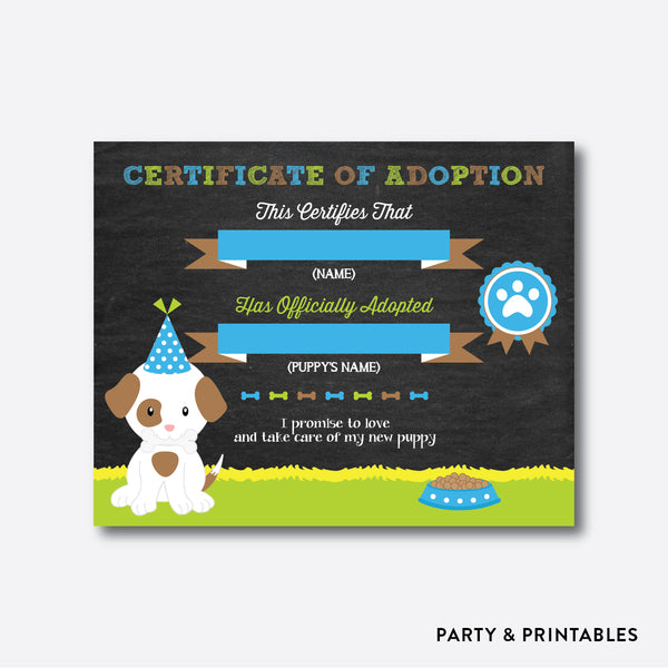 Puppy Chalkboard Adoption Certificate / Non-Personalized / Instant Download (CKB.19)