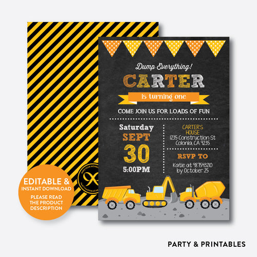 Construction Chalkboard Kids Birthday Invitation / Editable / Instant Download (CKB.200B)