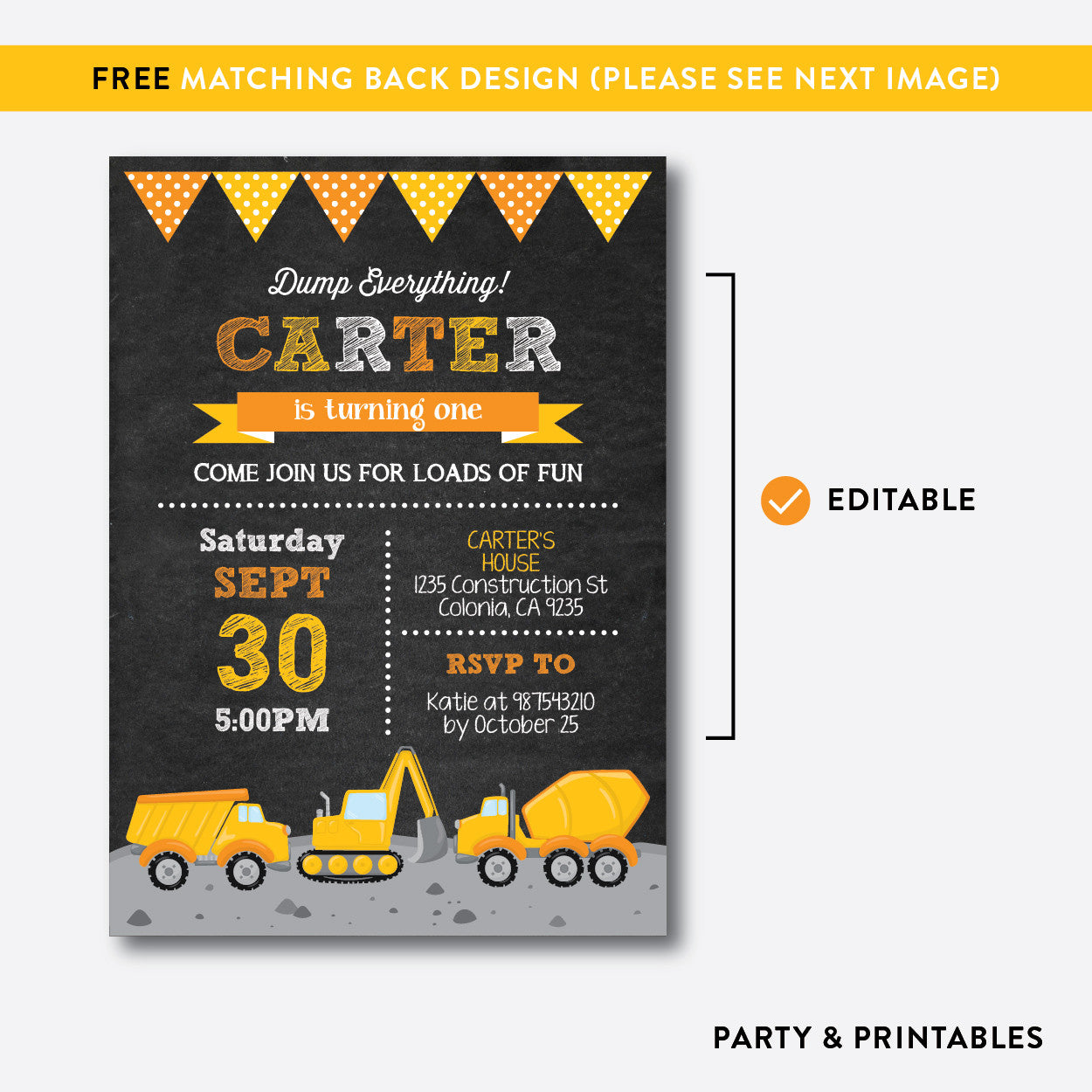 Construction Chalkboard Kids Birthday Invitation / Editable / Instant Download (CKB.200B), invitation - Party and Printables