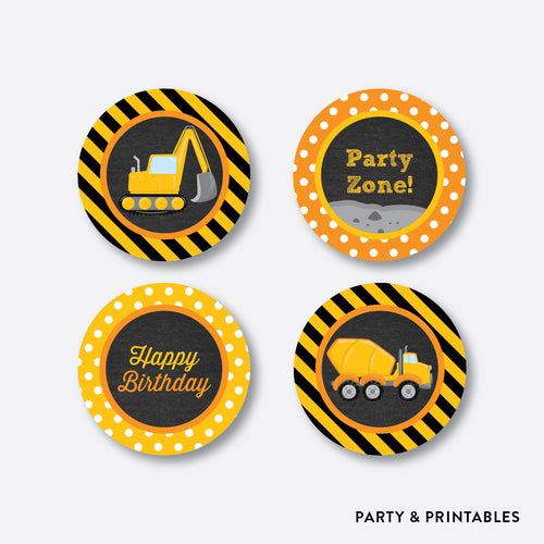 Construction Chalkboard Cupcake Toppers / Non-Personalized / Instant Download (CKB.200)