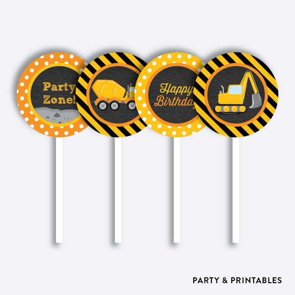 Construction Chalkboard Cupcake Toppers / Non-Personalized / Instant Download (CKB.200), party printables - Party and Printables