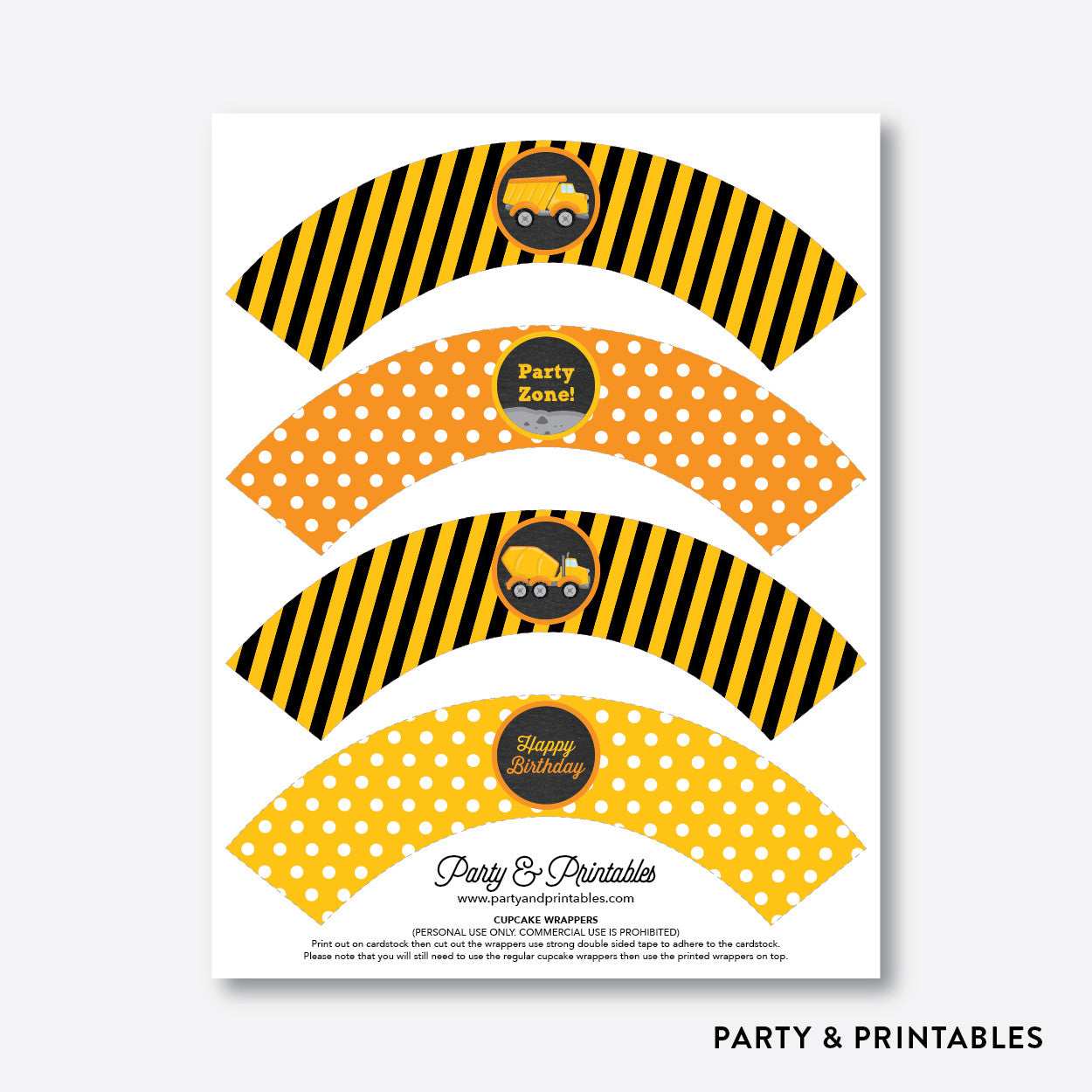 Construction Chalkboard Cupcake Wrappers / Non-Personalized / Instant Download (CKB.200), party printables - Party and Printables