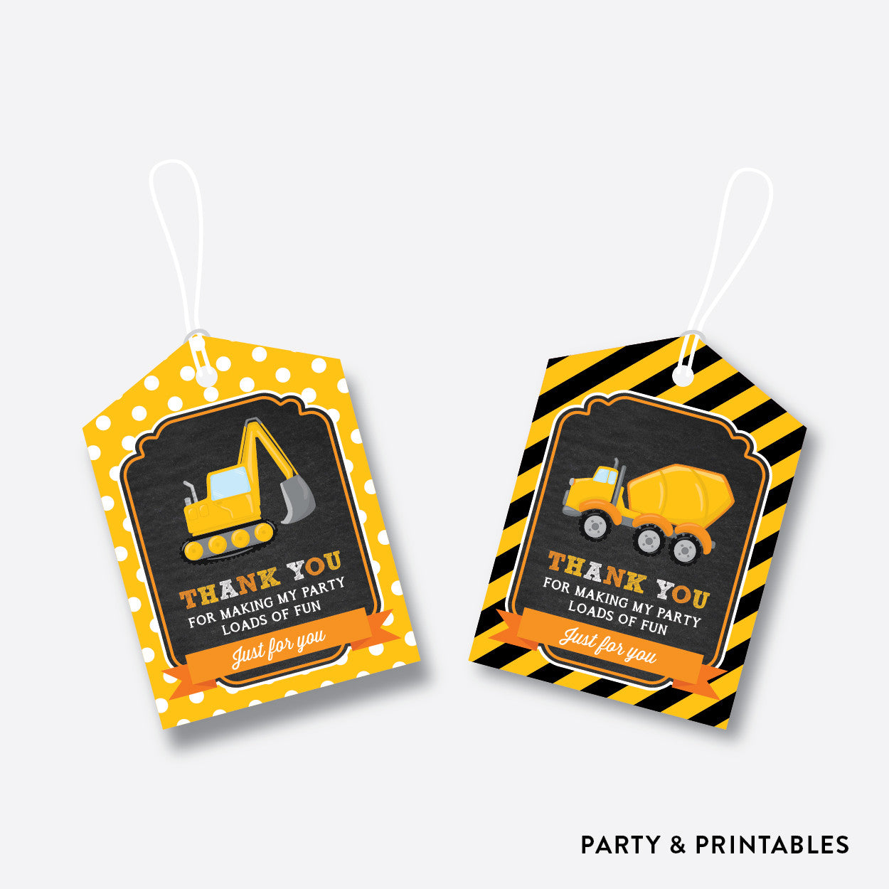 Construction Chalkboard Favor Tags / Non-Personalized / Instant Download (CKB.200), party printables - Party and Printables