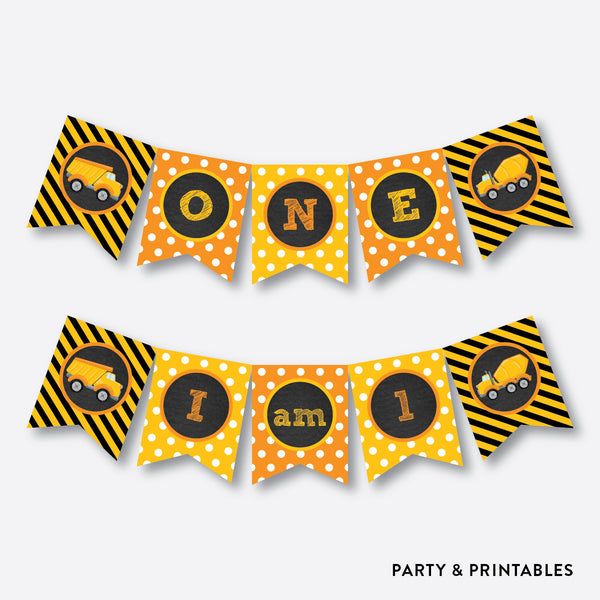 Construction High Chair Banner / Non-Personalized / Instant Download (CKB.200), party printables - Party and Printables
