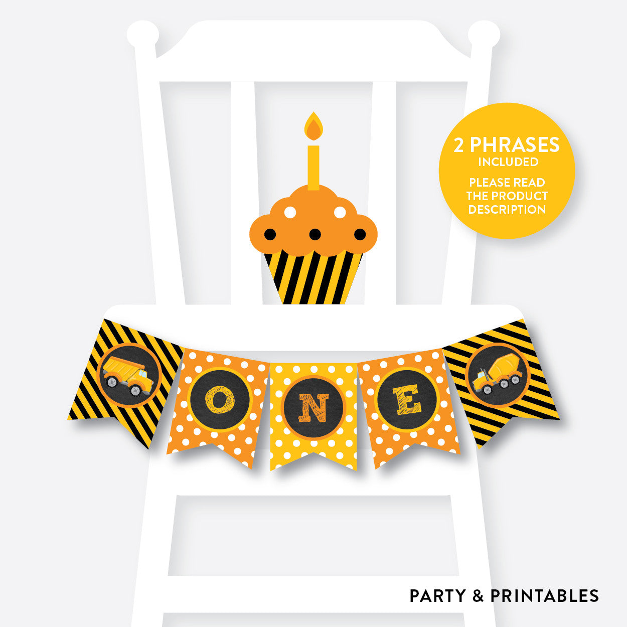 Construction High Chair Banner / Non-Personalized / Instant Download (CKB.200)
