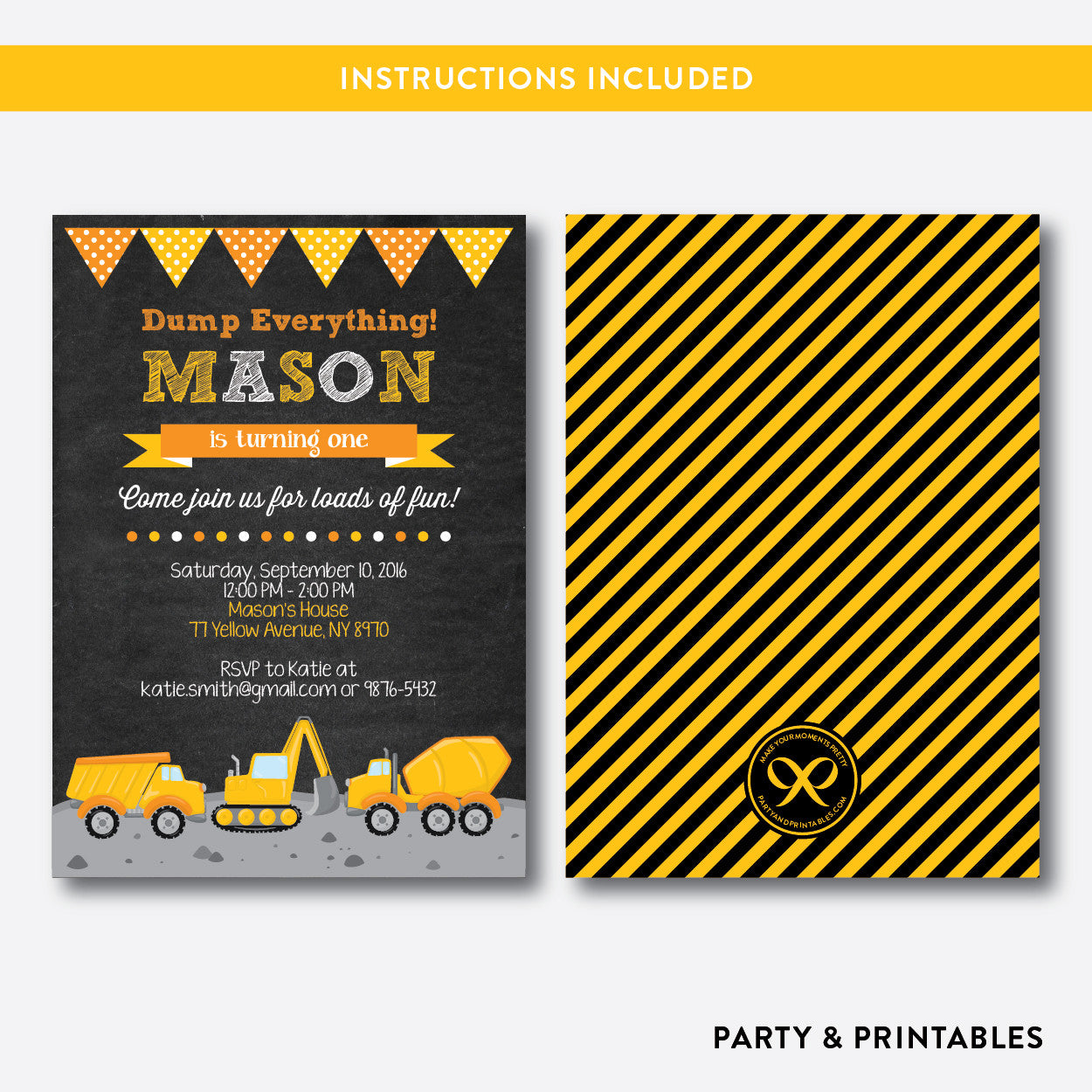 Construction Chalkboard Kids Birthday Invitation / Editable / Instant Download (CKB.200)
