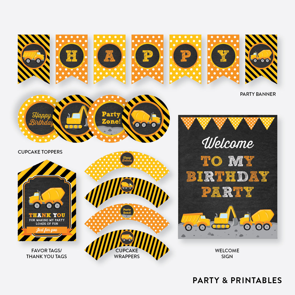 Construction Chalkboard Standard Kids Birthday Party Package / Non-Personalized / Instant Download (CKB.200), party package - Party and Printables