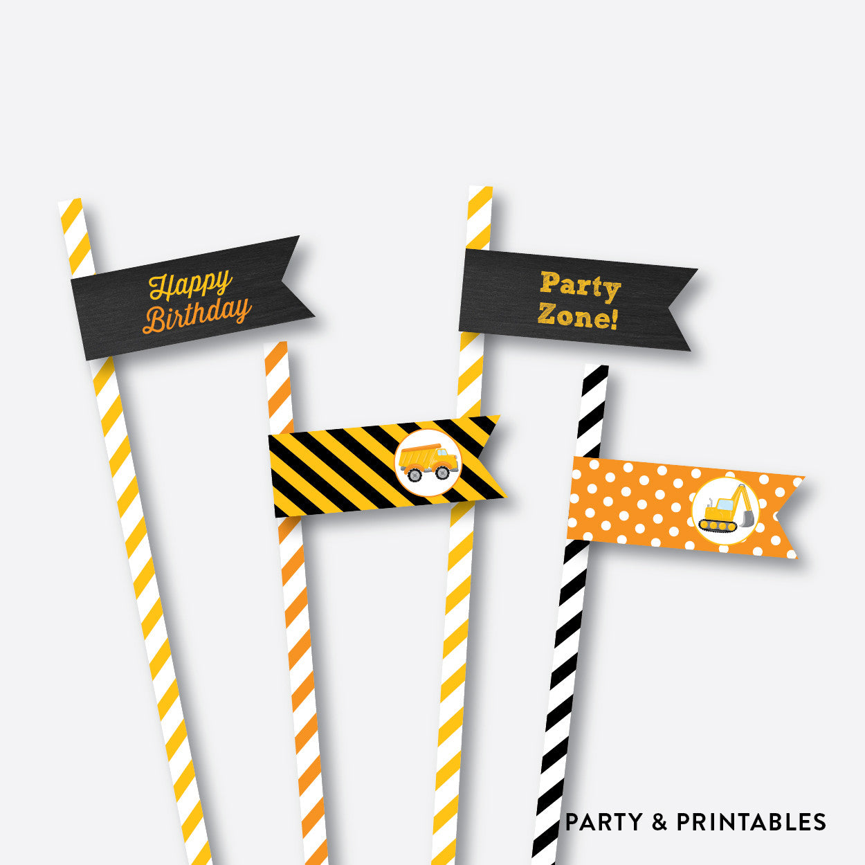 Construction Chalkboard Straw Flags / Non-Personalized / Instant Download (CKB.200), party printables - Party and Printables