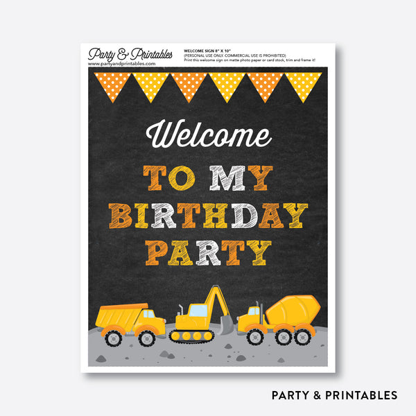 Construction Chalkboard Welcome Sign / Non-Personalized / Instant Download (CKB.200), party printables - Party and Printables