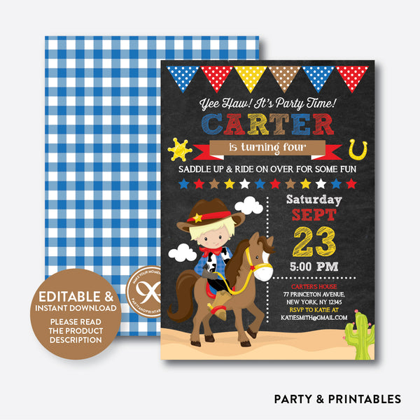 Cowboy Chalkboard Kids Birthday Invitation / Editable / Instant Download (CKB.213B), invitation - Party and Printables