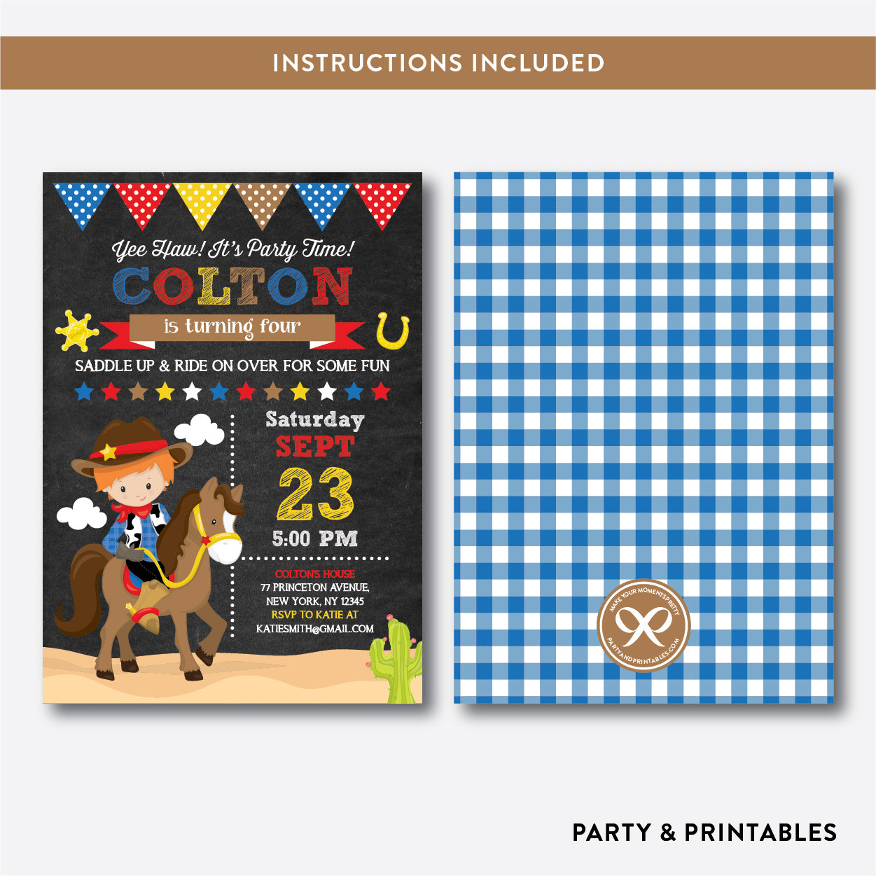 Cowboy Chalkboard Kids Birthday Invitation / Editable / Instant Download (CKB.213C), invitation - Party and Printables