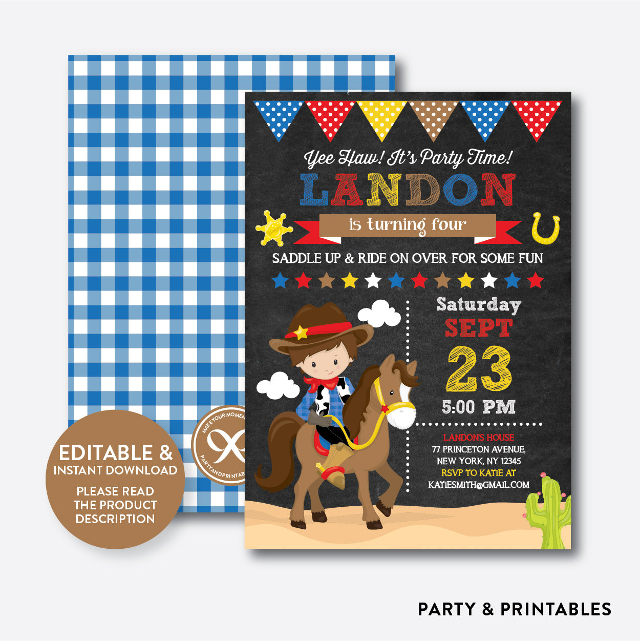 Cowboy Chalkboard Kids Birthday Invitation / Editable / Instant Download (CKB.213), invitation - Party and Printables