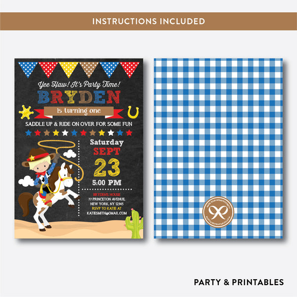 Cowboy Chalkboard Kids Birthday Invitation / Editable / Instant Download (CKB.214B), invitation - Party and Printables