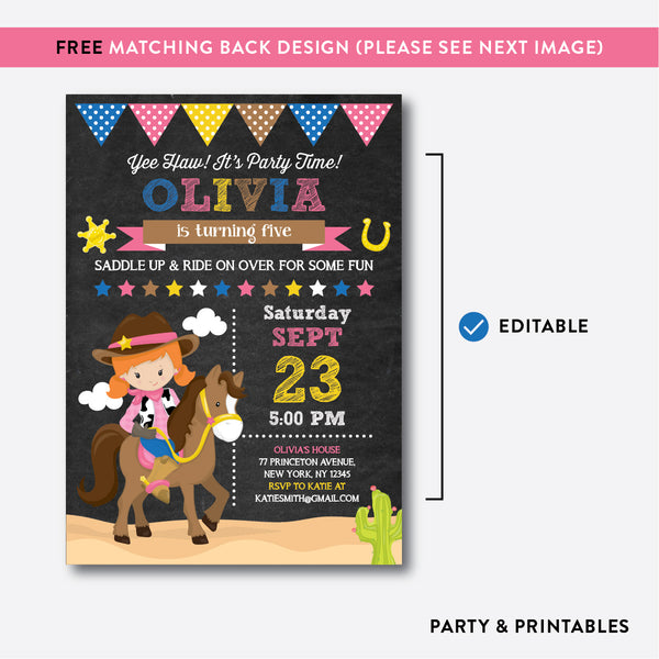 Cowgirl Chalkboard Kids Birthday Invitation / Editable / Instant Download (CKB.216C), invitation - Party and Printables