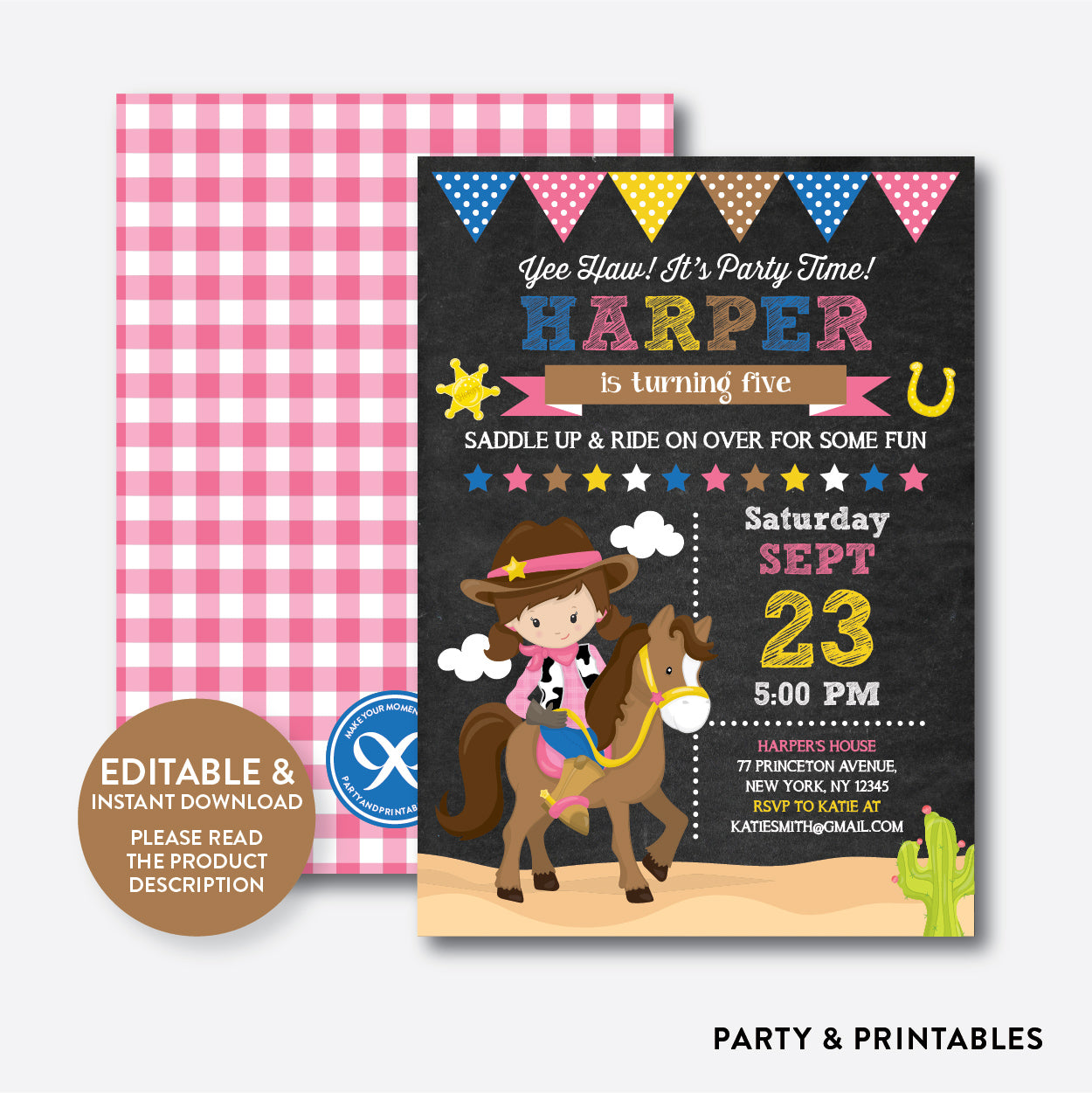 Cowgirl Chalkboard Kids Birthday Invitation / Editable / Instant Download (CKB.216), invitation - Party and Printables
