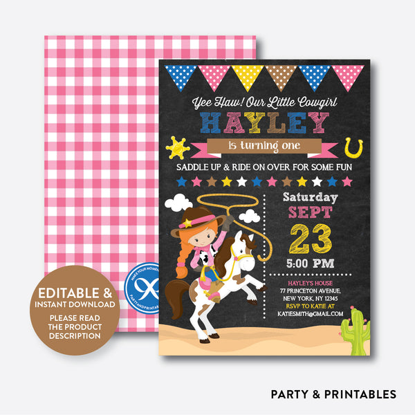 Cowgirl Chalkboard Kids Birthday Invitation / Editable / Instant Download (CKB.217C), invitation - Party and Printables