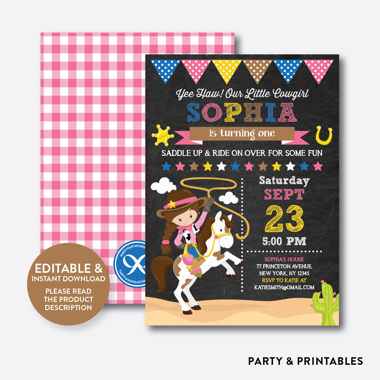 Cowgirl Chalkboard Kids Birthday Invitation / Editable / Instant Download (CKB.217), invitation - Party and Printables