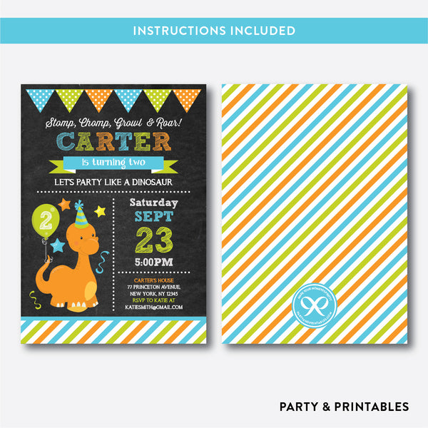 Dinosaur Chalkboard Kids Birthday Invitation / Editable / Instant Download (CKB.219), invitation - Party and Printables