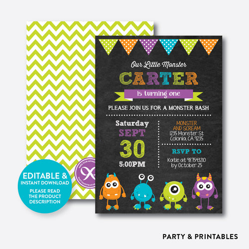 Monsters Chalkboard Kids Birthday Invitation / Editable / Instant Download (CKB.21B)