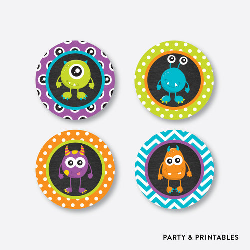 Monster Chalkboard Cupcake Toppers / Non-Personalized / Instant Download (CKB.21)