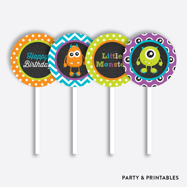 Monster Chalkboard Cupcake Toppers / Non-Personalized / Instant Download (CKB.21), party printables - Party and Printables