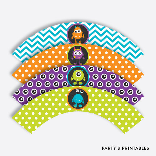 Monster Chalkboard Cupcake Wrappers / Non-Personalized / Instant Download (CKB.21)