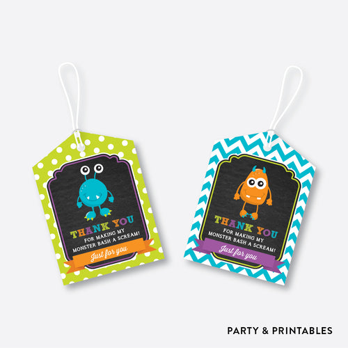Monster Chalkboard Favor Tags / Non-Personalized / Instant Download (CKB.21)
