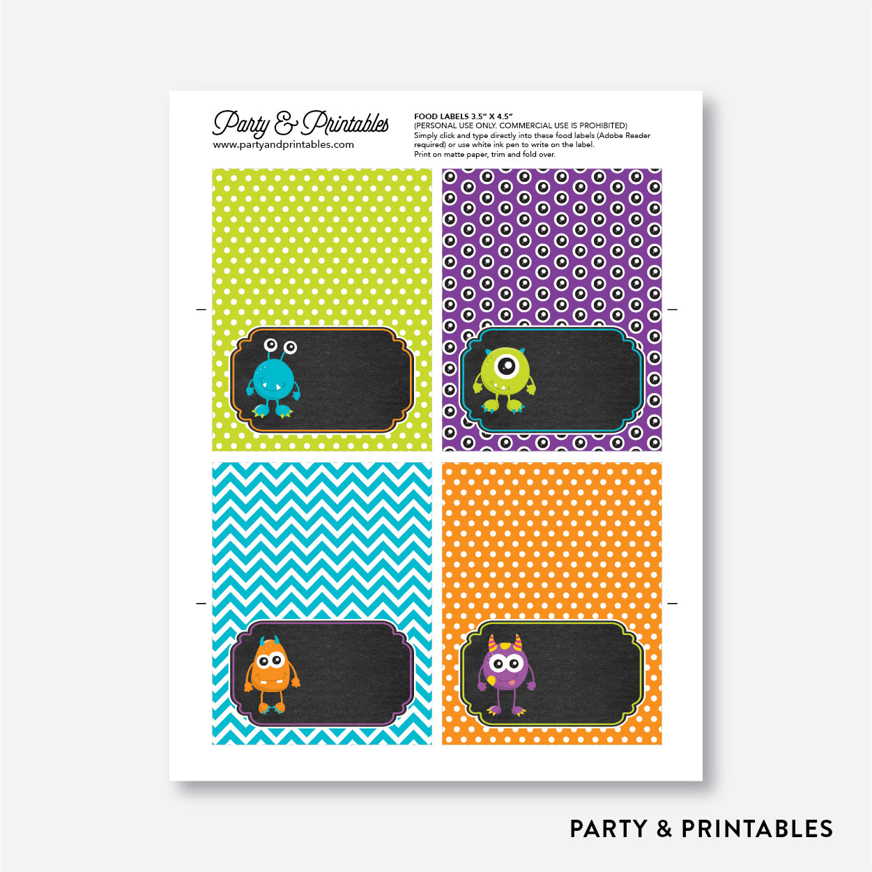 Monster Chalkboard Food Labels / Editable / Instant Download (CKB.21), party printables - Party and Printables