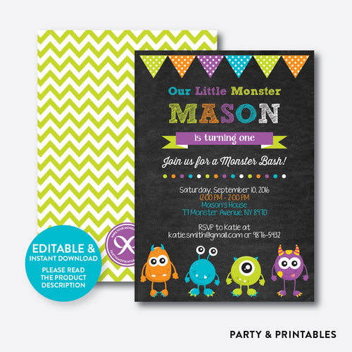 Monsters Chalkboard Kids Birthday Invitation / Editable / Instant Download (CKB.21)
