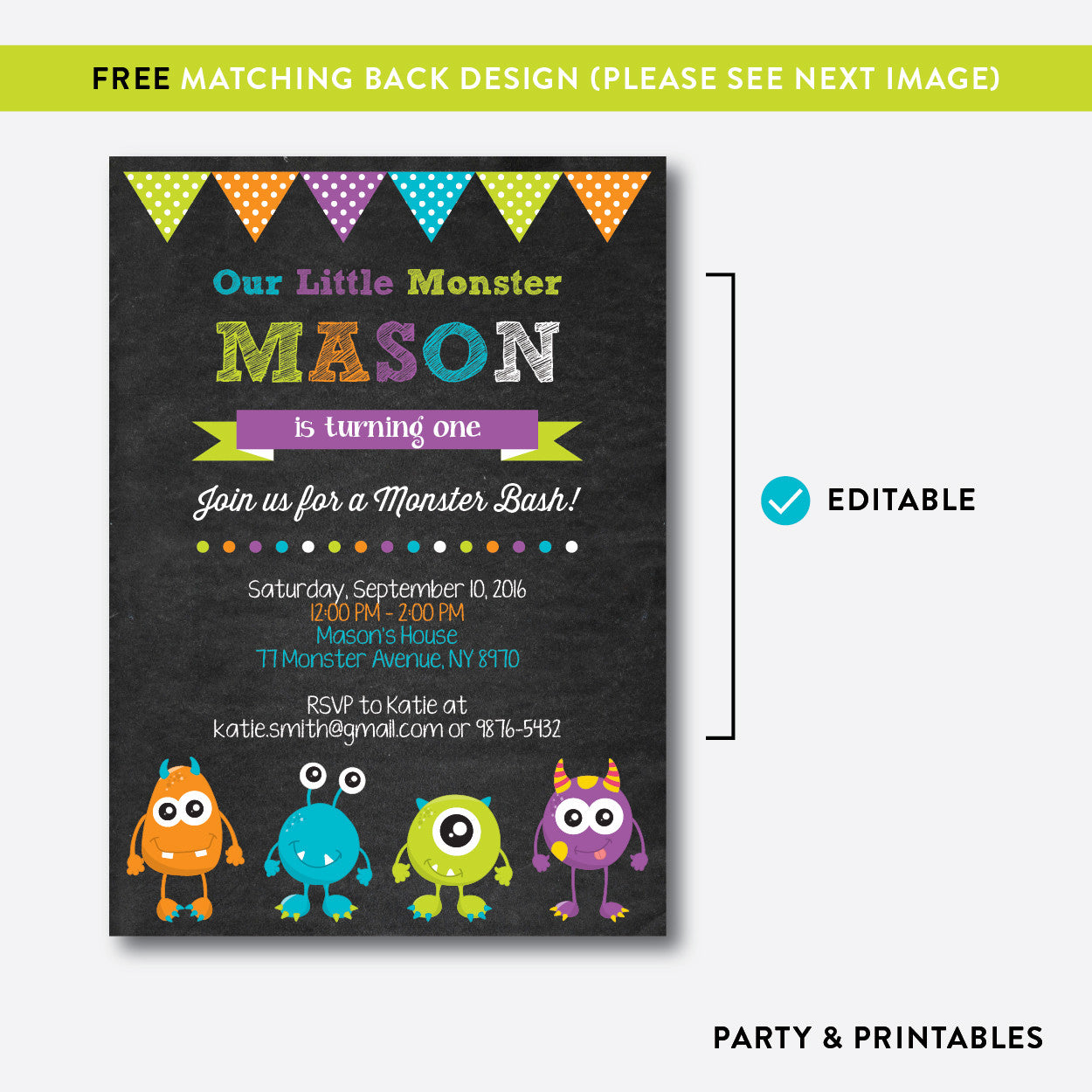 Monsters Chalkboard Kids Birthday Invitation / Editable / Instant Download (CKB.21), invitation - Party and Printables