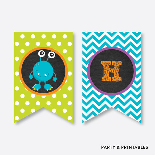 Monster Chalkboard Party Banner / Happy Birthday Banner / Non-Personalized / Instant Download (CKB.21)