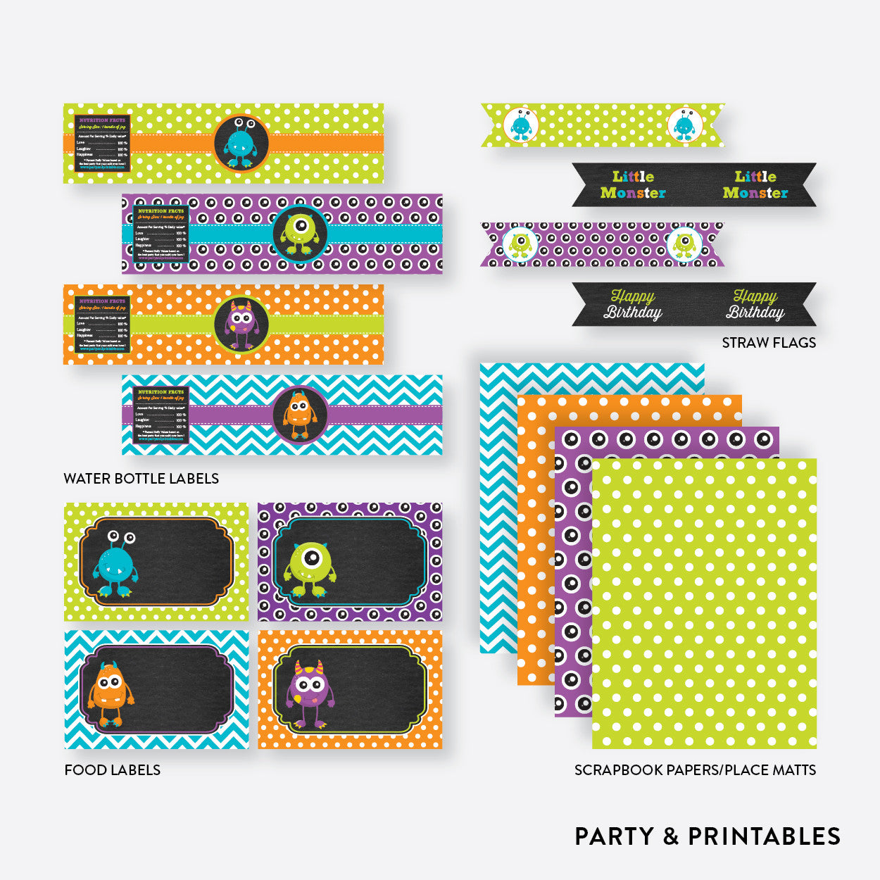 Monster Chalkboard Standard Kids Birthday Party Package / Non-Personalized / Instant Download (CKB.21), party package - Party and Printables