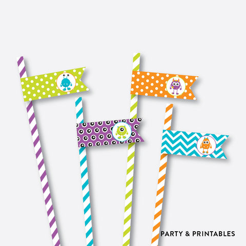 Monster Chalkboard Straw Flags / Non-Personalized / Instant Download (CKB.21)