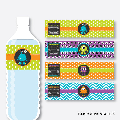 Monster Chalkboard Water Bottle Labels / Non-Personalized / Instant Download (CKB.21)