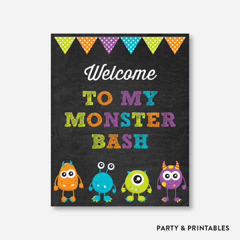 Monster Chalkboard Welcome Sign / Non-Personalized / Instant Download (CKB.21)