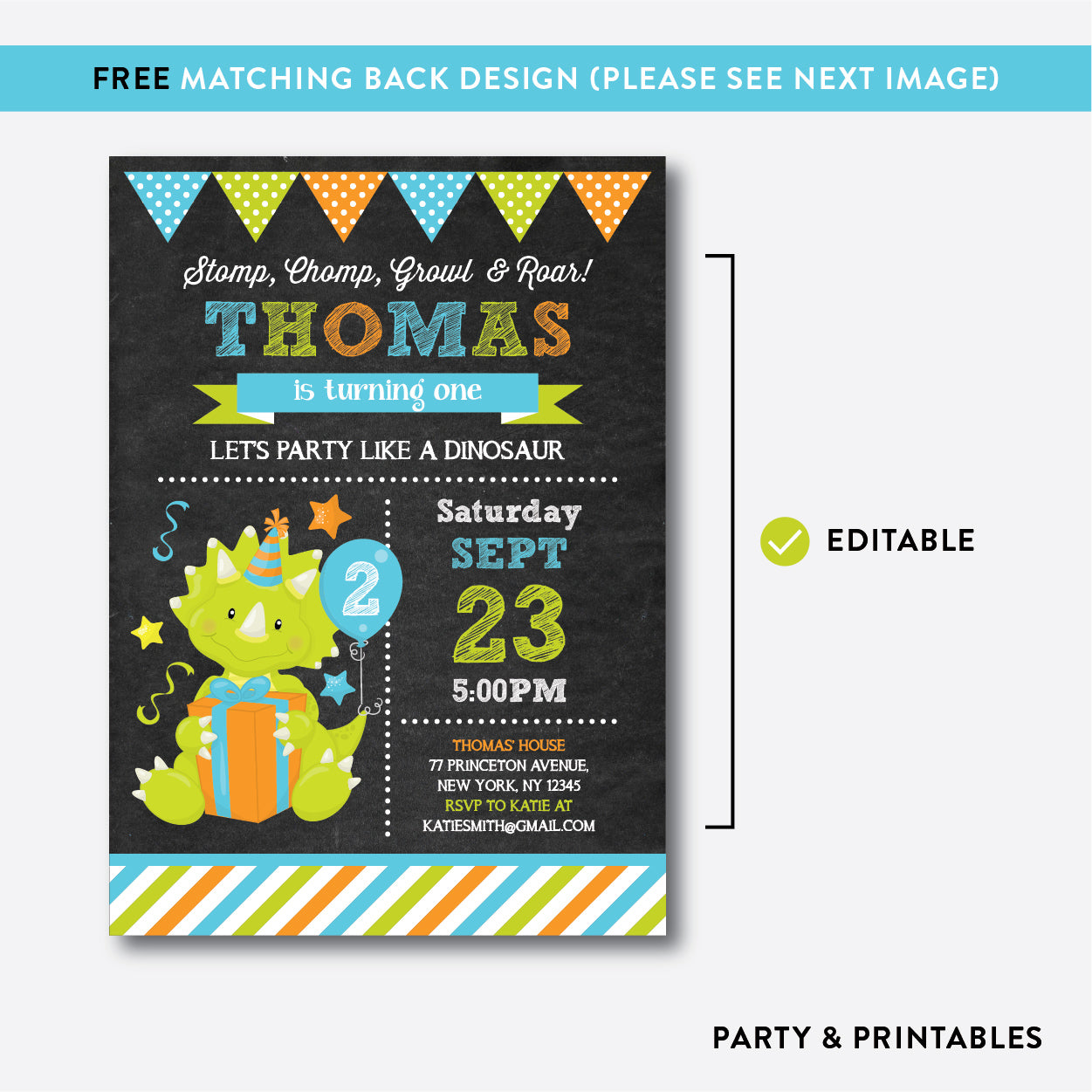 Dinosaur Chalkboard Kids Birthday Invitation / Editable / Instant Download (CKB.221), invitation - Party and Printables