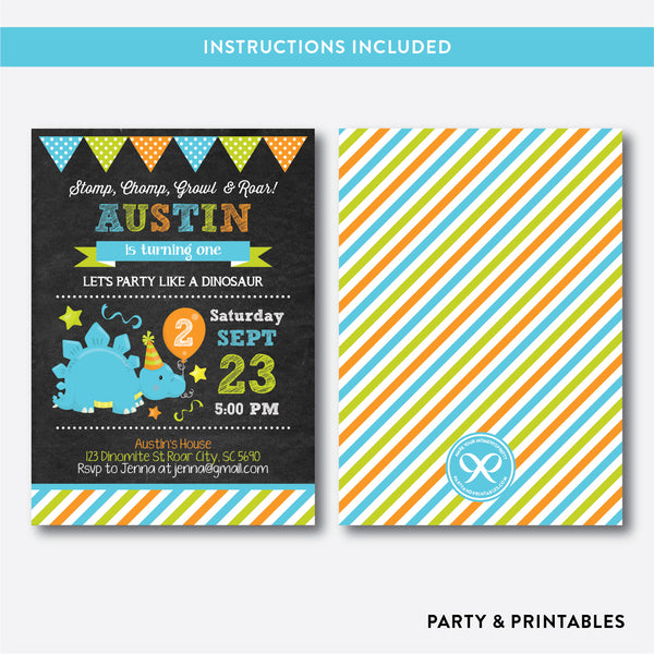 Dinosaur Chalkboard Kids Birthday Invitation / Editable / Instant Download (CKB.222), invitation - Party and Printables