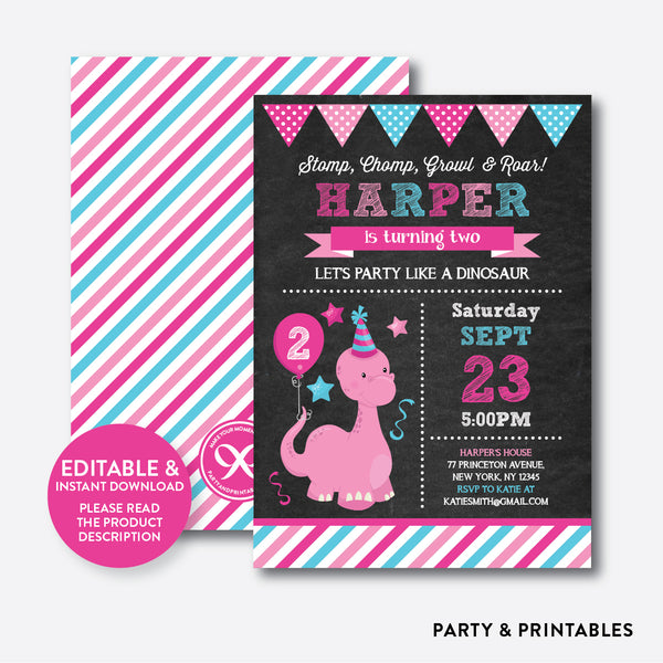 Dinosaur Chalkboard Kids Birthday Invitation / Editable / Instant Download (CKB.224), invitation - Party and Printables