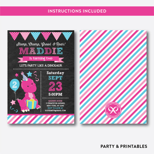 Dinosaur Chalkboard Kids Birthday Invitation / Editable / Instant Download (CKB.225), invitation - Party and Printables