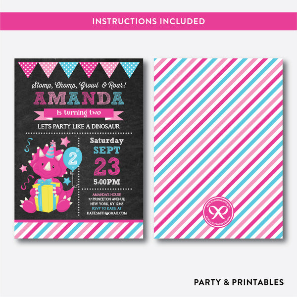 Dinosaur Chalkboard Kids Birthday Invitation / Editable / Instant Download (CKB.226), invitation - Party and Printables