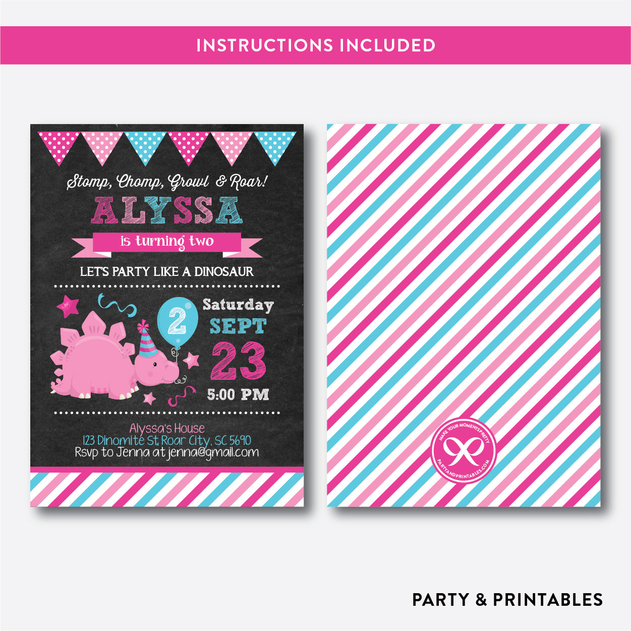 Dinosaur Chalkboard Kids Birthday Invitation / Editable / Instant Download (CKB.227), invitation - Party and Printables
