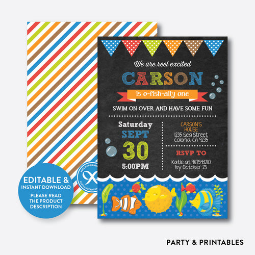 O-fish-ally Chalkboard Kids Birthday Invitation / Editable / Instant Download (CKB.229)
