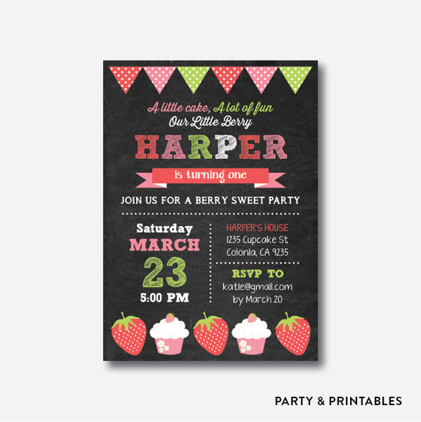 Strawberry and Cupcake Kids Birthday Invitation / Personalized (CKB.22), invitation - Party and Printables