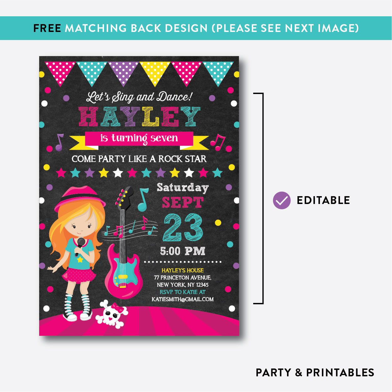Rock Star Chalkboard Kids Birthday Invitation / Editable / Instant Download (CKB.231C), invitation - Party and Printables