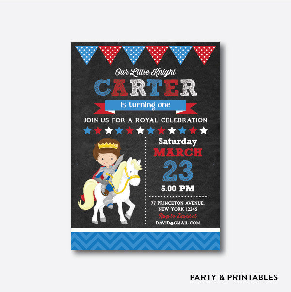 Knight Chalkboard Kids Birthday Invitation / Personalized (CKB.237), invitation - Party and Printables