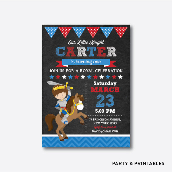 Knight Chalkboard Kids Birthday Invitation / Personalized (CKB.238), invitation - Party and Printables